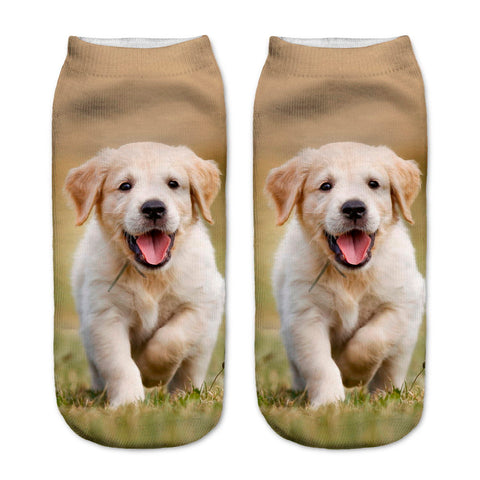 New 3D Socks Lovely Puppy Picture Low Ankle Socks, Length 19cm