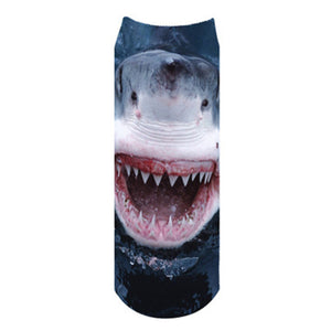 New 3D White Shark Picture Low Ankle Socks Length 19cm