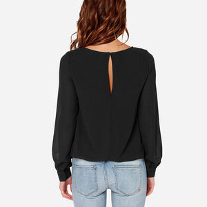 New Brand Fashion Plus Sizes. Small to 6XL Long Sleeve round Neck Solid Chiffon Casual Loose Blouse Tops