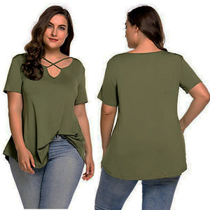 Plus Size Women Casual V-neck Chiffon Short Sleeve Blouse Relax Feel Women Loose Blouse / Tops Size L- 4XL