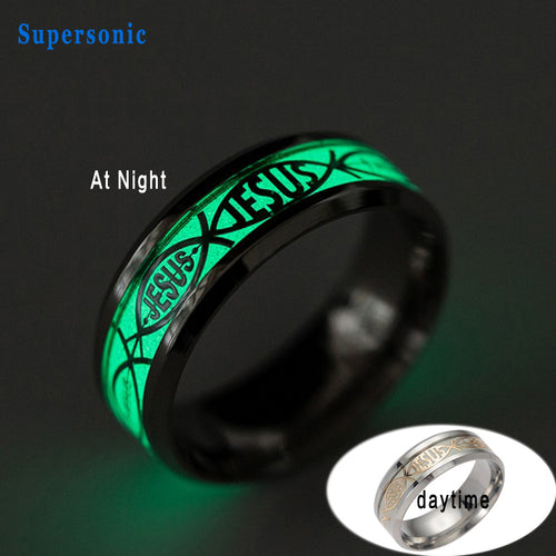 New Religious Rings Jesus Stainless Steel Luminous / Glow in the Dark.