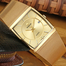 New WWOOR Brand Luxury Men Square Waterproof Gold Watch Men's Quartz Sports Watch Stainless Steel
