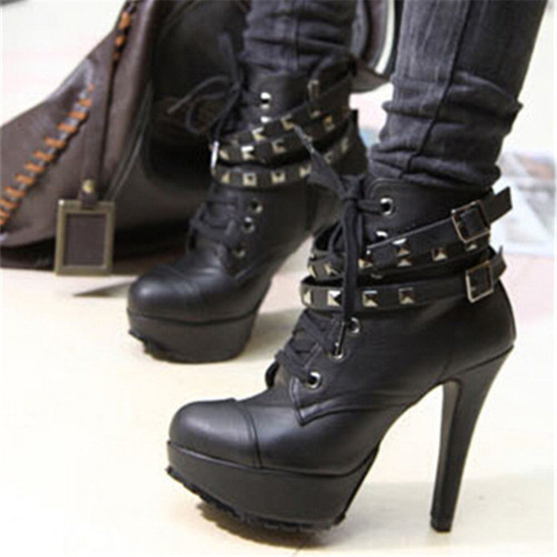 New Women Winter / Motorcycle Ankle Vintage High Heels Gladiator Black Buckles Boots. Party Shoes