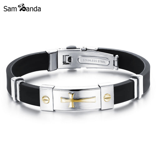 Newest Men Jewelry Black Silicone Rubber Bracelet Silver/Golden Cross Stainless Steel Trendy Men Bracelets