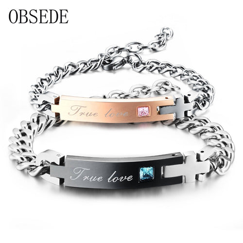 TRUE LOVE Couple Bracelet with Crystal, Stainless Steel Bracelet Jewelry 2017