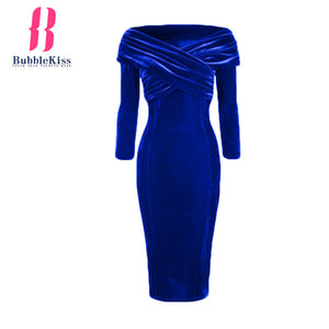 Off Shoulder Velvet Bodycon Dress Long Sleeve Party Dress Elegant Dress