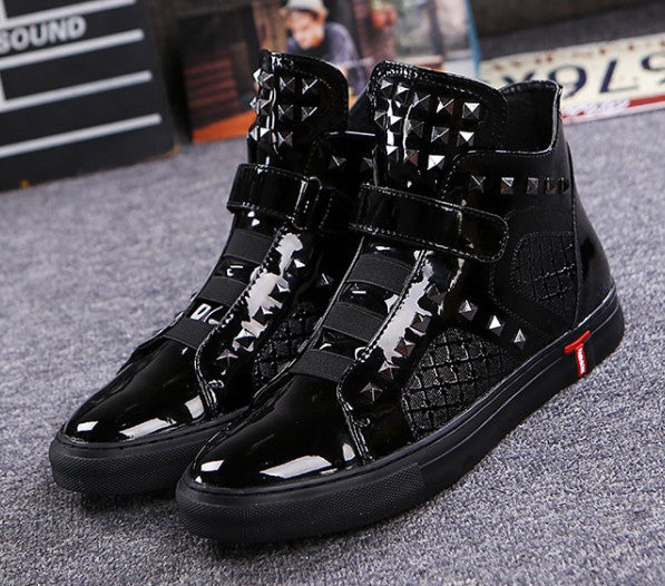 Leather Male High Top Sneakers Italian Designer Rhombus Rivets Men Loafers Fashion Party Casual Dress Shoes