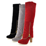 Size 34-43 High Heels Long Boots Flock Winter Knee High Boots Women Shoes Fashion Zipper Style