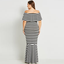 Dress Bodycon Slash Neck Stripe