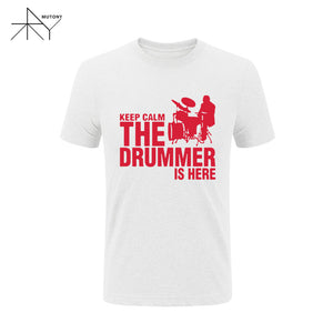 Keep Calms The Drummer Is Here.. A drummer Cotton T-shirt Short Sleeve Casual..