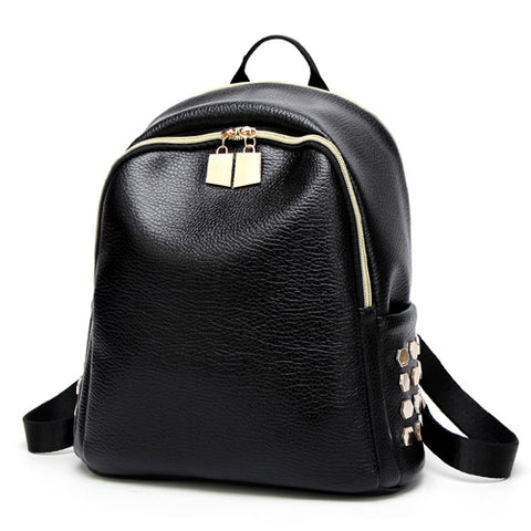 Fashion Rivet Women Backpack High Quality Pu Leather School Bag for Students / Travel
