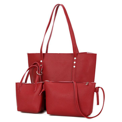 Litchi Pattern Three Pieces Women Bag Soft PU Leather Handbag Female Shoulder Bag