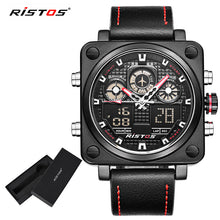 Chronograph Men Multifunction Sport Leather dual display Watch Analog