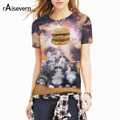 New Style Animal Loves Food 3D T Shirt Cute Cats Worship Hamburger Galaxy T-shirt
