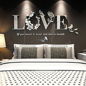 Stylish Removable 3D Leaf LOVE Wall Sticker Acrylic Decals Bedroom Decor