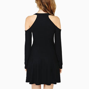 New Women Casual Dress Plus Size Round-neck Long Sleeve Black Dress
