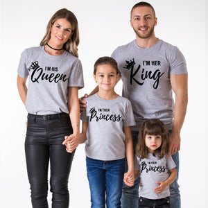 Family Matching Outfits Matching Father Mother Daughter Son Clothes Cotton Short Sleeve T-shirt King Queen Family Look
