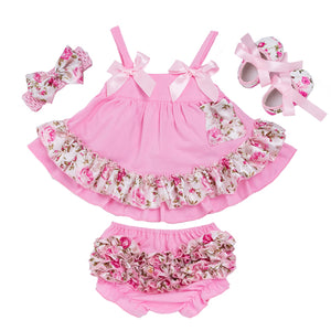 Summer Style Baby Swing Top Baby Girls Clothing Set Infant Ruffle Outfits Bloomer Headband Newborn Girl Clothes Sets