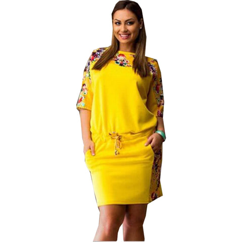 New round neck mid-sleeve printed large plus size women dress.