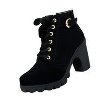 Women Fashion Lace Side zipper Thick crust High-heeled Ankle Boots