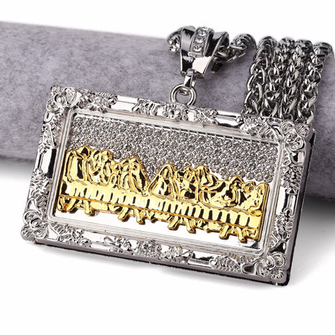 Peace and Prosperity Last Supper Pendants Chain Rhinestone Da Vinci Painting Necklace Jewelry