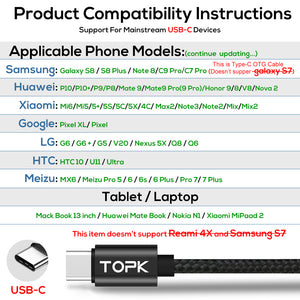 TOPK 1.2M(3.9ft) 3A(Max) USB Type C Cable, QC 3.0 Fast Charging Voltage and Current Display Durable Nylon Braided USB C Cable
