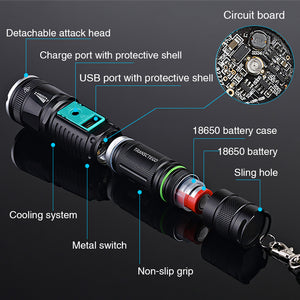 Flashlight 18650 Rechargeable Tactical Waterproof T6 Long Range LED Flashlights / Riding / Hunting Light with USB Power Bank.