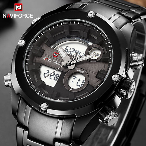 Top Luxury Brand NAVIFORCE Full Steel Sport Watch, Men's Quartz Analog Military Style