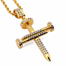 Top-quality Splicing Nail Cross Pendant Necklace Bling Rock Jewelry hip hop bling bling Charm Chain