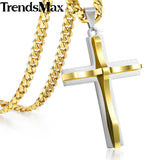 Trendsmax Cross Pendant Necklace Men's Chain Stainless Steel Curb Cuban Link Black Gold Silver Color Gift Jewelry KKPM137