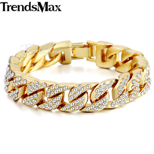 Mens Bracelet Iced Out Miami Curb Cuban Gold / Silver Paved Clear Rhinestones Chain 14mm