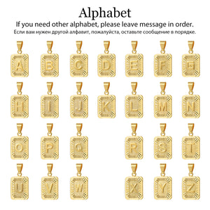 Alphabet Pendant and chain Necklace Capital Letter Charm Silver / Gold color