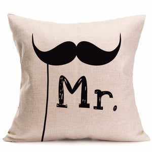New Valentine's Day Sweet Mr / Mrs. Wedding Pillow Cover Decoration For Home.