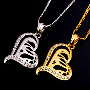 Allah Necklace Islamic Jewelry Gold Color Crystal Heart Shaped Necklace Pendant Allah Name