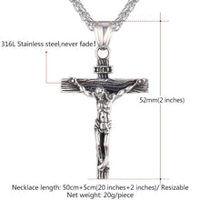 Cross Crucifix Jesus Pendant Necklace Gold Color Men Chain Jewelry