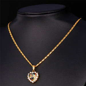 Crystal Necklace Women Jewelry Gold Plated. Heart Necklace Pendant