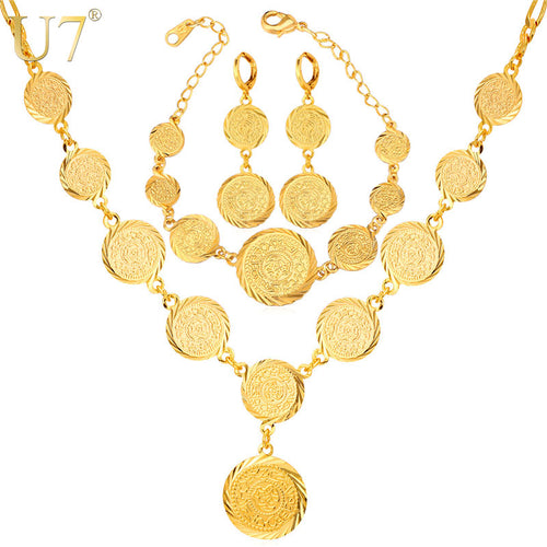 Dubai Gold Color Jewelry Set Antique Coin Bracelet Earrings Necklace Set