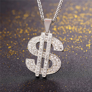 US Dollar Sign Necklace; Pendant 316L Stainless Steel / Gold Color Chain with Rhinestone Hip Hop Bling Jewelry