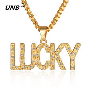 New Fashion Gold-color Chain Necklace Bling Letter LUCKY Pendant Necklace With Crystal Filled Hiphop Jewelry