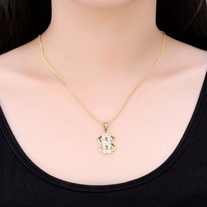 US Dollar Money Necklace Pendant 316L Stainless Steel/Gold Color Chain Rhinestone Hip Hop Bling Jewelry