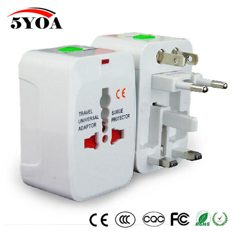Universal Power Adapter Plug with 2 USB. All in one Travel AC Power US/UK/AU/EU Plug Socket.