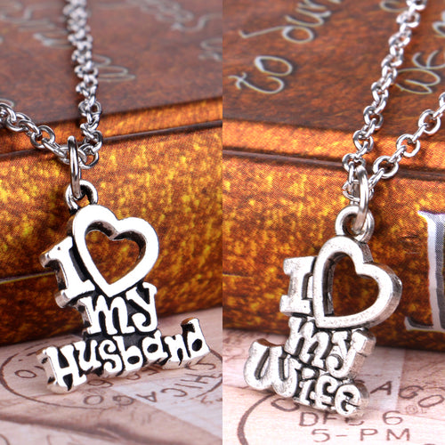 I Love My Wife / Husband Heart, Pendant Necklace For Women Men / Couple