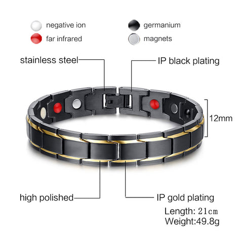 Health Bracelet Magnetic Cure Jewelry Engraved.