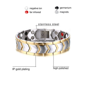 Healthy Stainless Steel Magnetotherapy Bracelet Jewelry. Bio Energy Magnet Bracelet