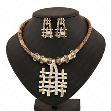 Jewelry set necklace earrings Gold-color crystal