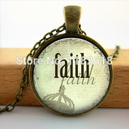 Faith, Believe, Hope, Necklace Religious Christian Jewelry Round Glass Necklace.