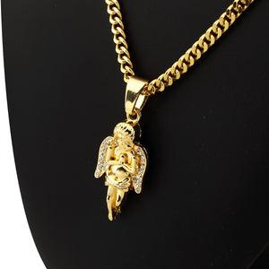 Hip Hop Charm Franco Chain Hands Merger Praying Angel pendants necklace bling rock Jewelry for GOOD LUCK