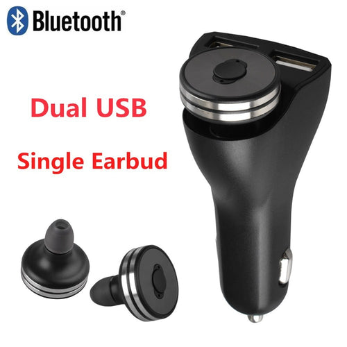 Wireless Earphone with Car Charger 2 in 1 Bluetooth 4.0 Earbud Hands-free W/Microphone and Dual USB Charger.