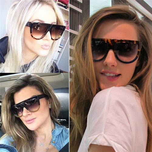 Woman oculos Flat Top Big Mirror Sun Glasses Cat Eye Sunglasses