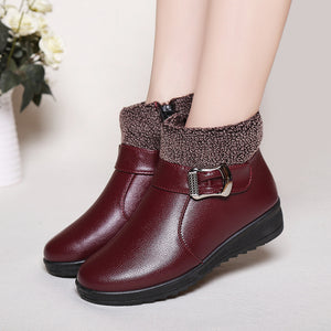 Women Boots PU Leather Ankle Boots Winter Short Plush Casual Shoes